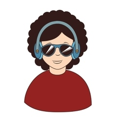 Afro hair headphones sunglasses icon vector image