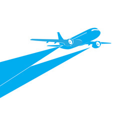 Airplane blue silhouette on white background vector