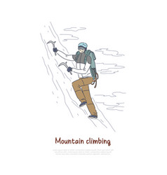 alpinist using mountaineering tools and equipment vector image