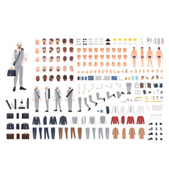 Architect or engineer animation set or constructor vector