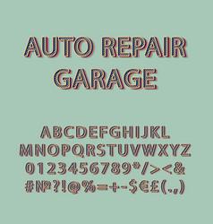 Auto repair garage vintage 3d alphabet set vector