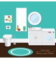 Bathroom interior volume Blue background vector image