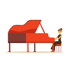 Beautiful woman in black dress playing red grand vector