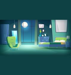 Bedroom interior at night with moonlight cartoon vector