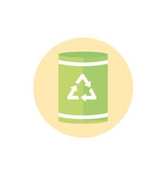 bin garbage recycle green energy block icon vector image