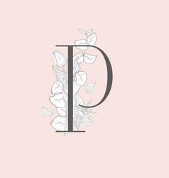 blooming floral elegant p monogram and logo vector image