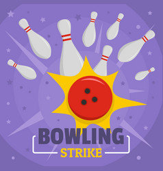 Bowling strike icon flat style vector