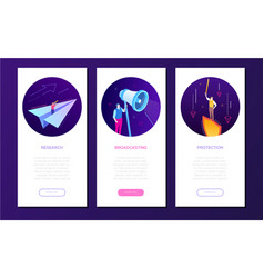 business and technology - set of isometric banners vector image