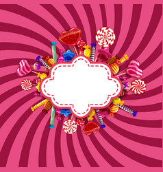 candy shop frame template background with set of vector image
