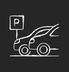 car parking chalk white icon on black background vector image