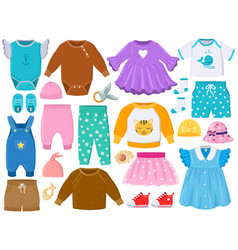 cartoon children fashion outfits clothes shoes vector image