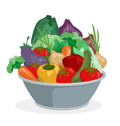 cartoon hand drawn vegetables in metal bowl vector image