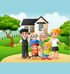 Cartoon happy family members in front yard of vector