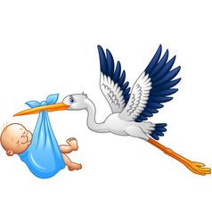 Cartoon stork with baboy vector