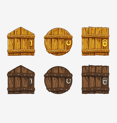 Cartoon wooden door assets for ui game vector