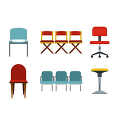 chair icon set flat style vector image