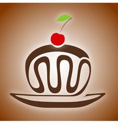 Chocolate cake with cherry vector