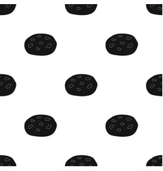 Chocolate chip cookies icon in black style vector
