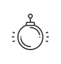 christmas ball thin line icon new year vector image