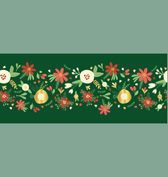 christmas flower garland seamless border vector image