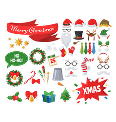 christmas photo booth props and party decoration vector image