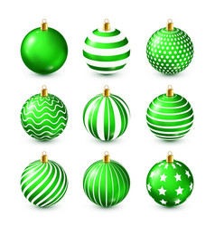 christmas tree shiny green balls set new year vector image
