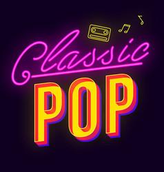 Classic pop vintage 3d lettering music party vector