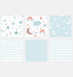 clouds stars kids seamless pattern set of vector image