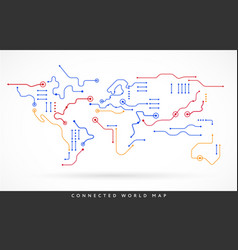 connected world map abstract technology vector image