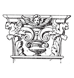 Corinthian pilaster capital spiral scroll like vector
