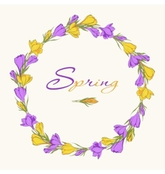 crocus wreath 1 purple yellow vector image