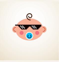 Cute baby cartoon flat icon adorable happy vector
