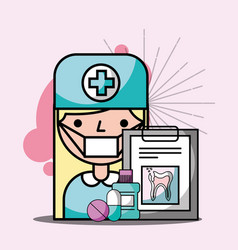 dentist girl clipboard mouthwash medication vector image