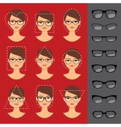 Different glasses shapes for different faces vector image