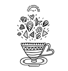 Doodle cup with ornaments vector image