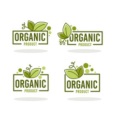 doodle organic leaves emblems elements frames vector image