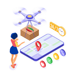 drone delivery pizza online order vector image