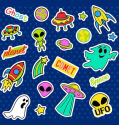 Fashion patch badges Pop art UFO set Stickers vector