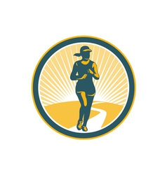 Female marathon runner circle retro vector