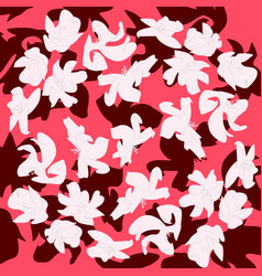 flowers colors of a living coral pantone pattern vector image