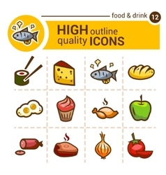 Food color outline icons vector