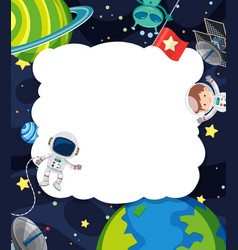 Frame template with astronaut flying in space vector
