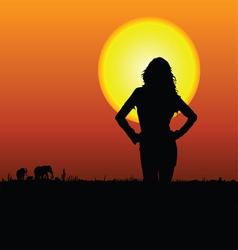 girl on the safari vector image