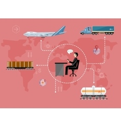 Global logistics network concept in flat design vector