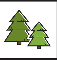 Green pine trees vector