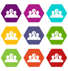 Group of people with unknown personality icon set vector