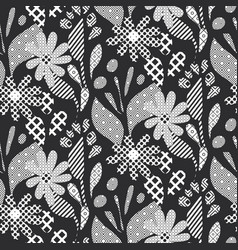 Halftone abstract black and white daisy flowers vector