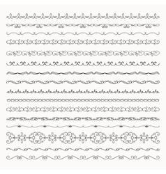 Hand drawn tileable line borders dividers vector