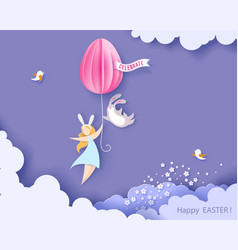 happy easter card with bunny girl and egg vector image