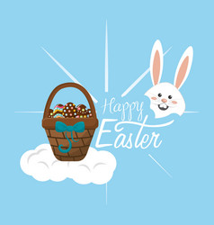 Happy easter rabbit day icon vector